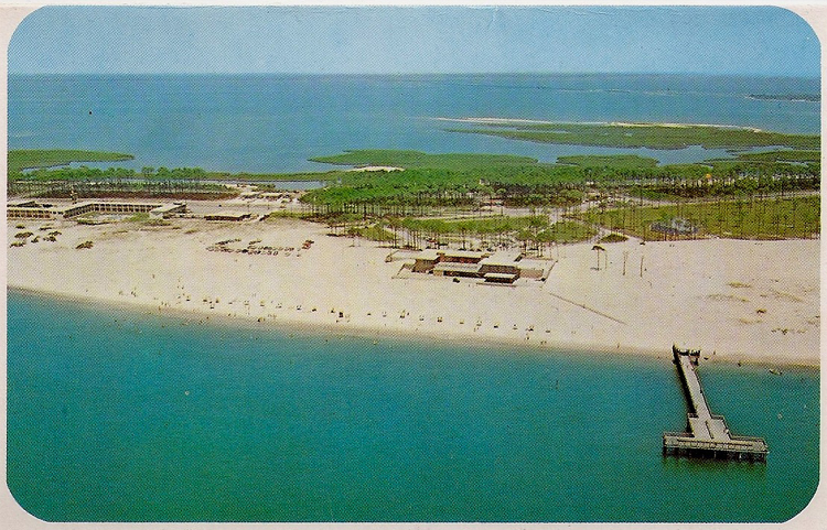 1950 39 s post card the casino on the beach for Dauphin island fishing pier