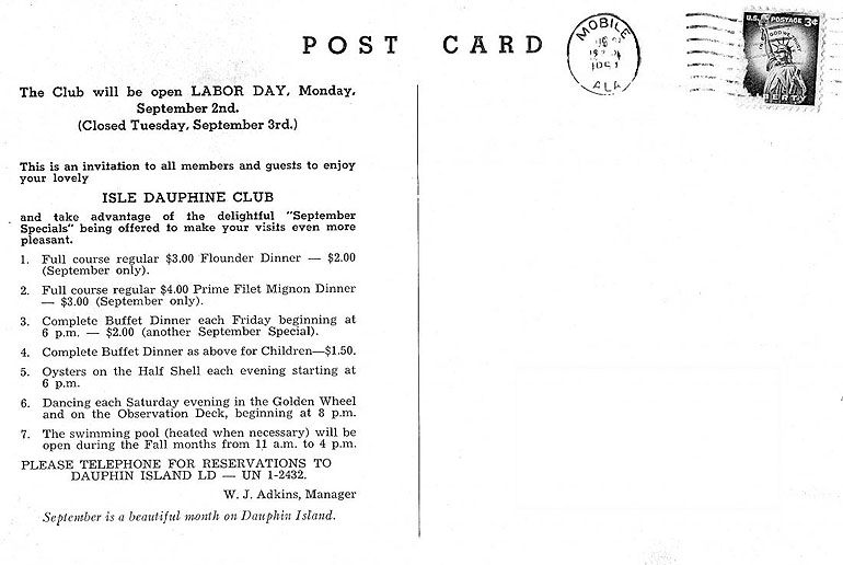 Isle Dauphine By The Pool - back of Card 1957