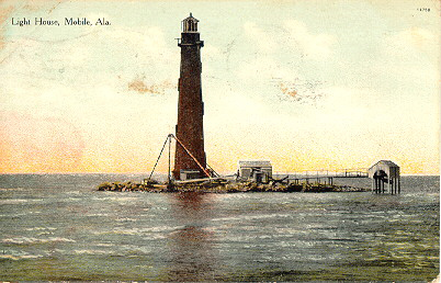 1908 Sand Island Light House Post Card